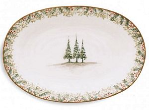Classic Winter / Christmas Oval Platter Italy