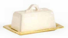 Covered Butter Dish in Cream and Saffron